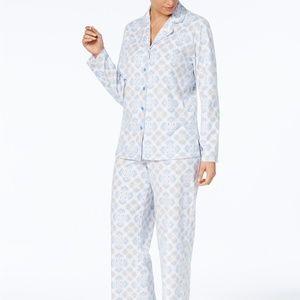 Charter Club Printed Fleece Long Sleeve PJ Set XS